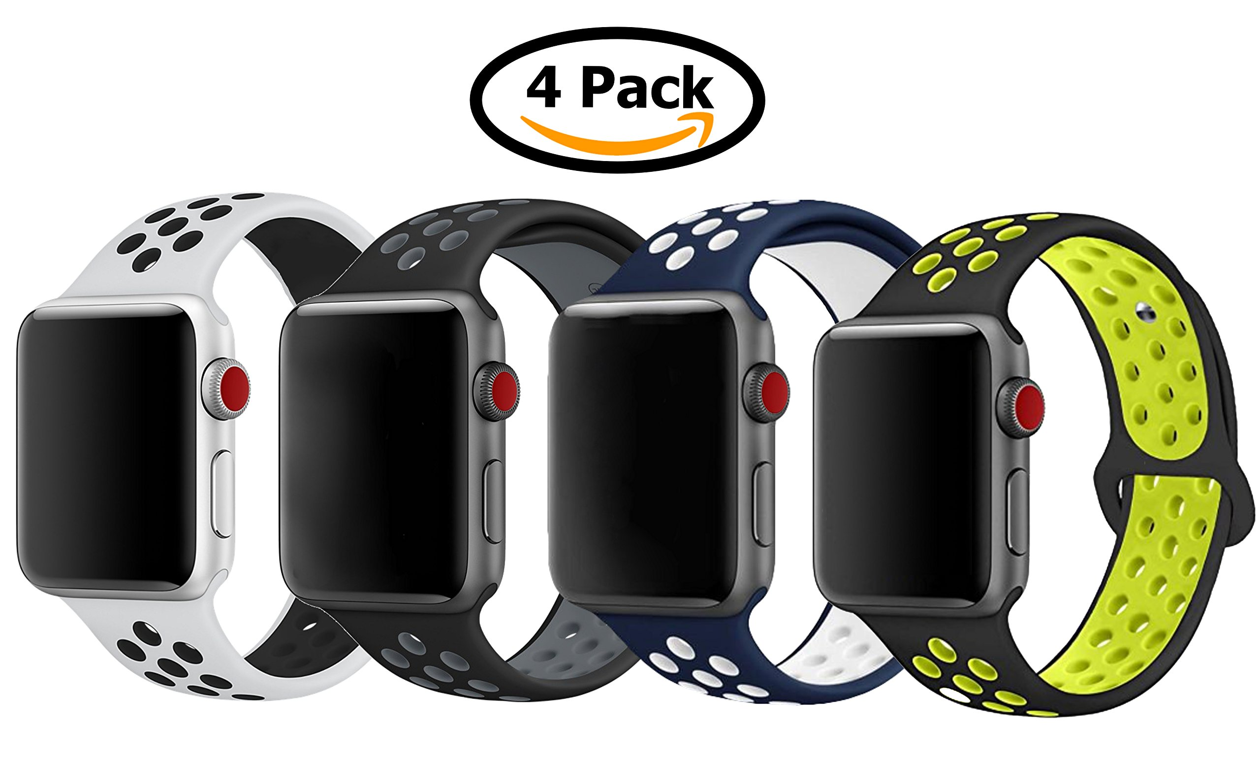 4 Pack Band for Apple Watch 38mm 42mm, Soft Silicone Sport Strap Replacement Bracelet Wristband for Apple Watch Series 3, Series 2, Series 1, Nike+, Edition, S/M M/L Size (Sport NK2, 42mm M/L)