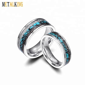 High Polished Titanium Rings Wedding Band With Turquoise And