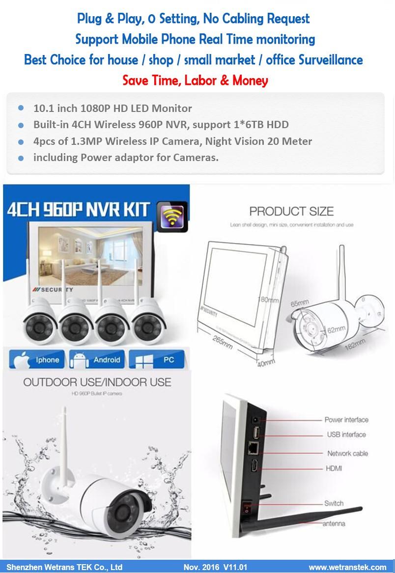10 Inch Cctv Monitor 4 Ch 960 P Hari Night Vision Wireless Dvr Dan 10inch 4ch 1080p Camera Nvr Kit