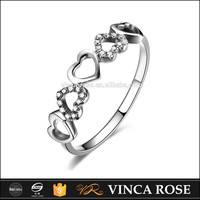 Heart with heart hollow design diamond jewelry white gold ring wholesale