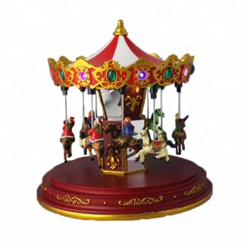 festival polyresin santa clause carousel christmas decoration with music box