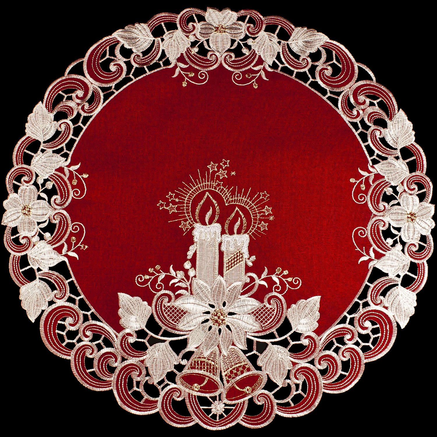 """Christmas Candles Bells and Poinsettia Embroidered Red 24"""" Round Doily Place Mat Small Table Topper"""