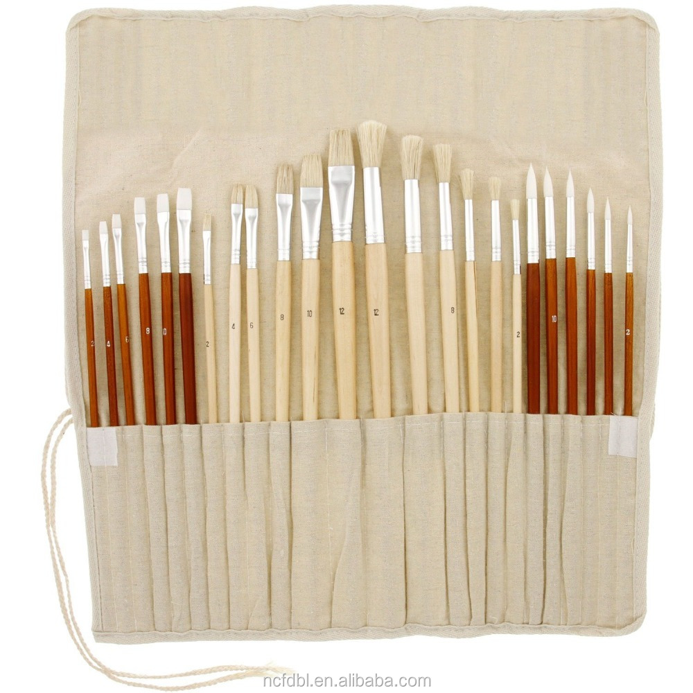 Oil & Acrylic Paint Long Handle Artist Paint Brush Set with Canvas Roll-Up Storage Wrap