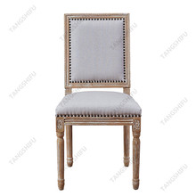 Chinese modern rubber wood legs grey fabric dining room chair
