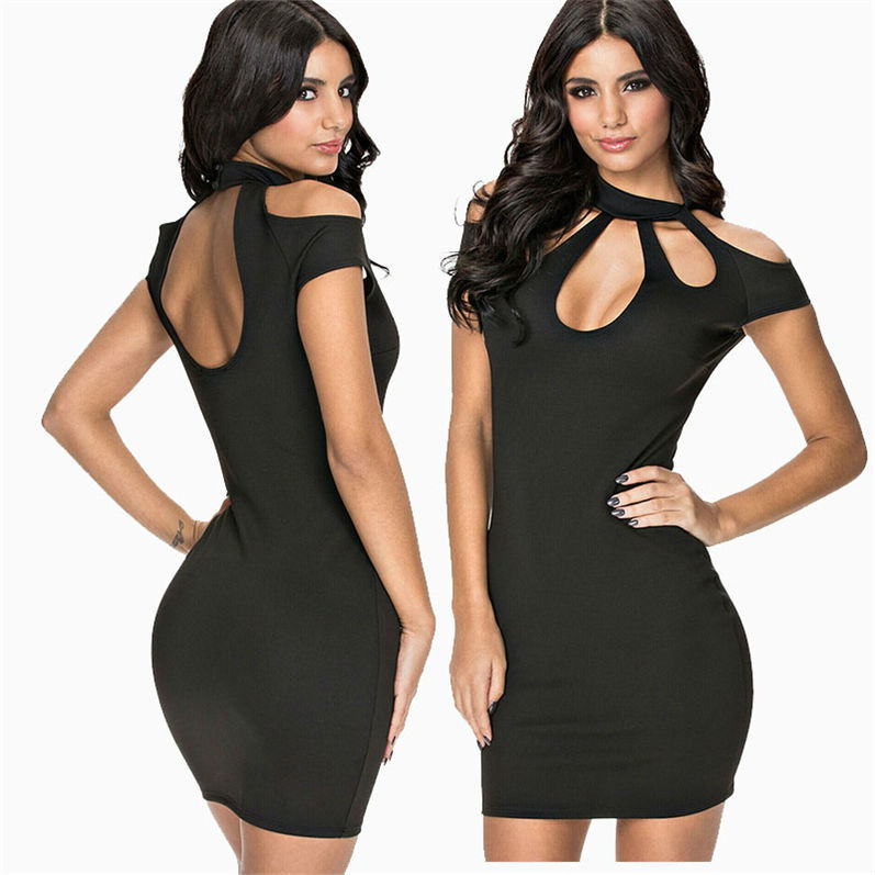 2015 Summer Sexy Round Neck Irregular Hollow Out Bodycon Fashion Dress Little Black Classic Mini Party Dresses For Women 850