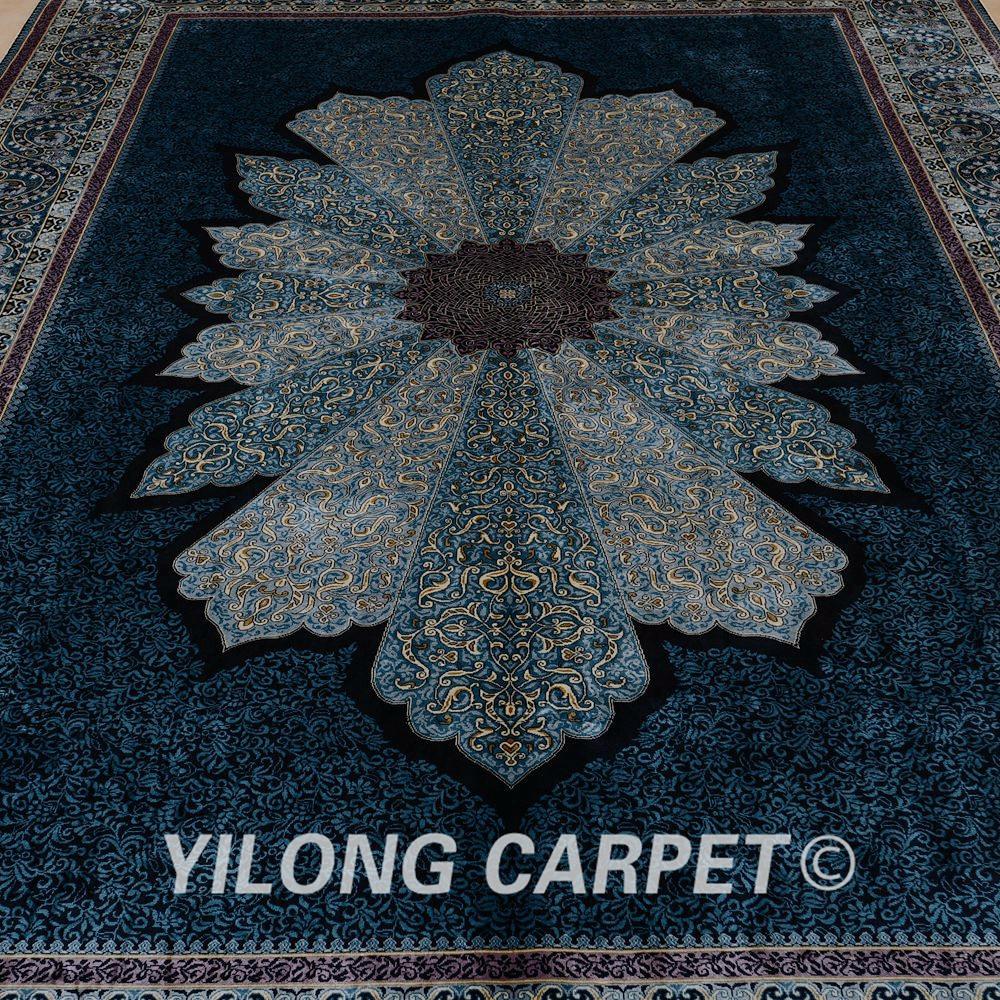 Yilong 2x3 m lujo azul turqu a alfombra de seda persa for Alfombra persa seda