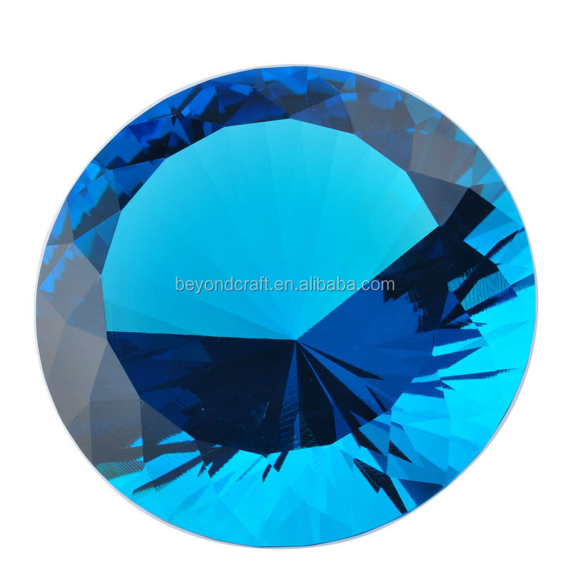 Large lake blue glass stone for corporation souvenirs,crystal diamond event decoration