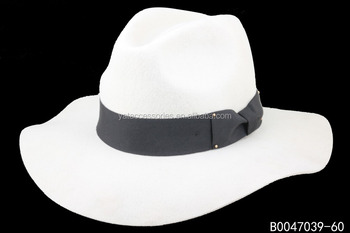 Lady White Ivory Color Wool Felt Fedora Hats 9dcfdef6a11