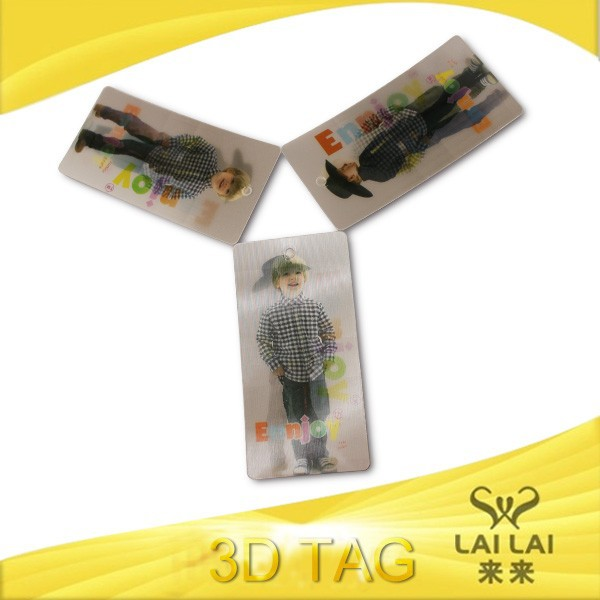 3D lenticular hang tag for luggage and garment