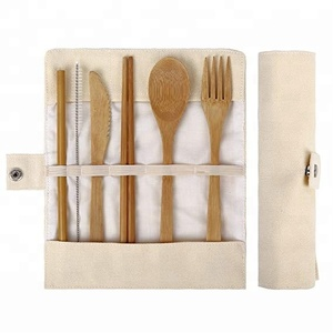 Bamboo Travel Cutlery Set include Knife, Fork, Spoon, Straw and chopsticks