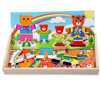 Anthonygift Wooden bear family dress puzzle toys creative education cartoon toys