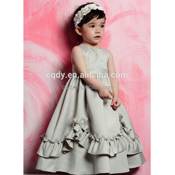 2015 Royal Grey Ball Gown Flower Girl Dress Long Puffy For Baby Girls Birthday