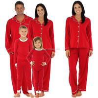 Custom Wholesale Family Matching Holiday Red Stretch Pajamas PJs Sets Family Pajamas
