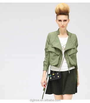 fa388b6b857a0 The autumn new fashion ladies dress long sleeve crop top collar army green  women bomber jacket