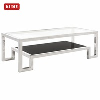 mesa de cafe living room modern furniture rectangle luxury double layer glass top stainless steel base combined coffee table