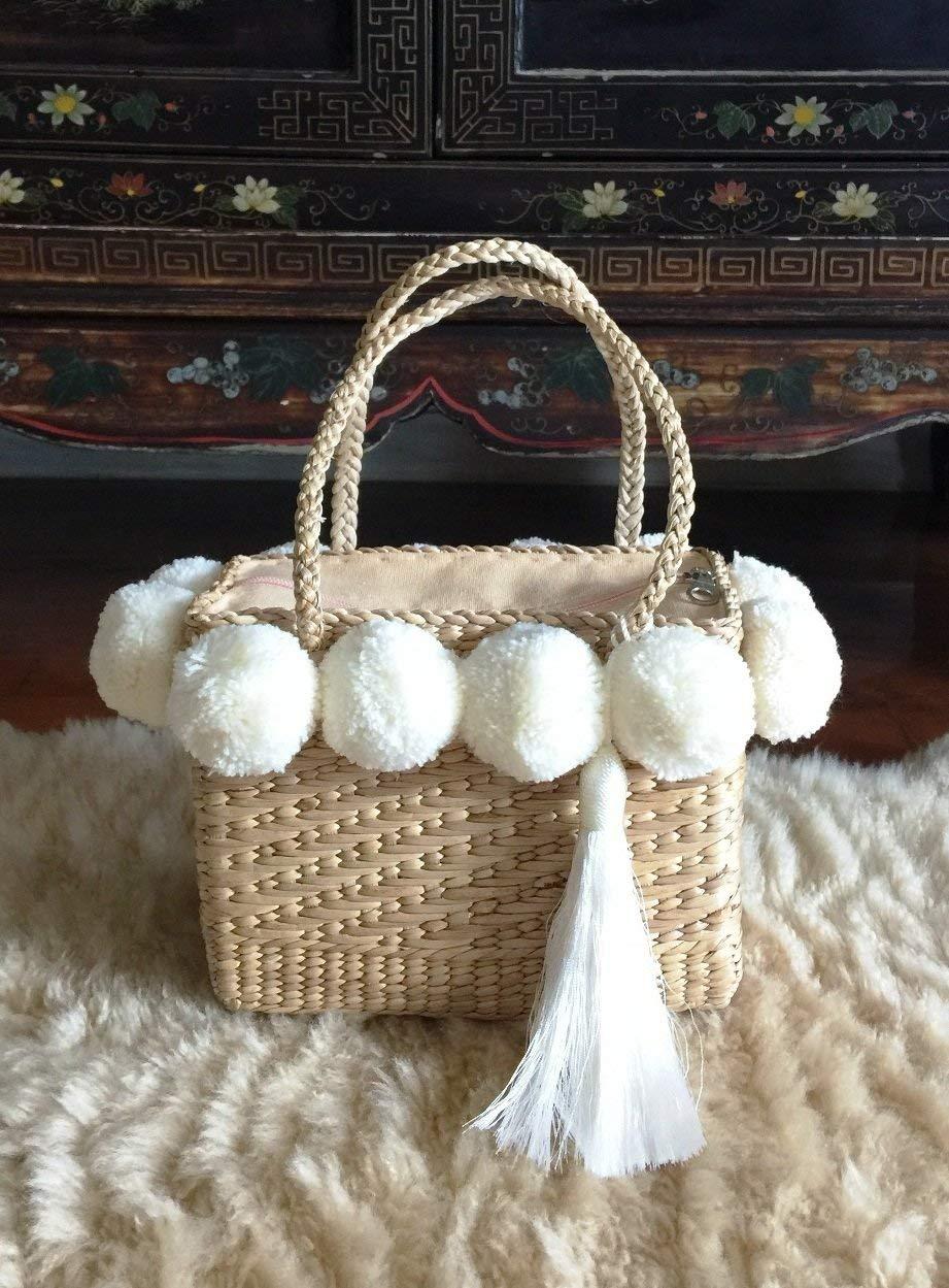 Mini Pom Pom Straw Bag,White Pom Pom Straw Bags for Women, Straw Basket Bag,Straw Basket Tote Bag,Beach Basket Bag,Pom Pom Straw Basket Purse,Basket Bag,Straw Bag,Straw Tote Beach Bag,Pom Pom Bag