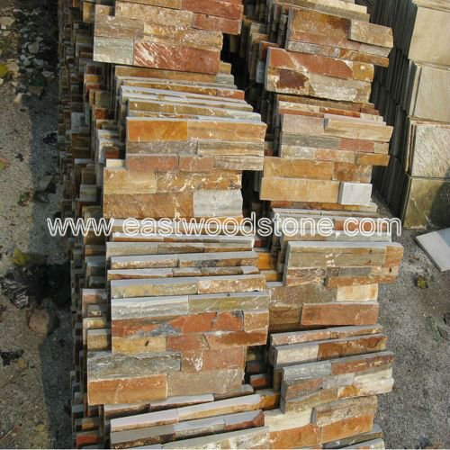 Slate wall panel veneer for stacked stone
