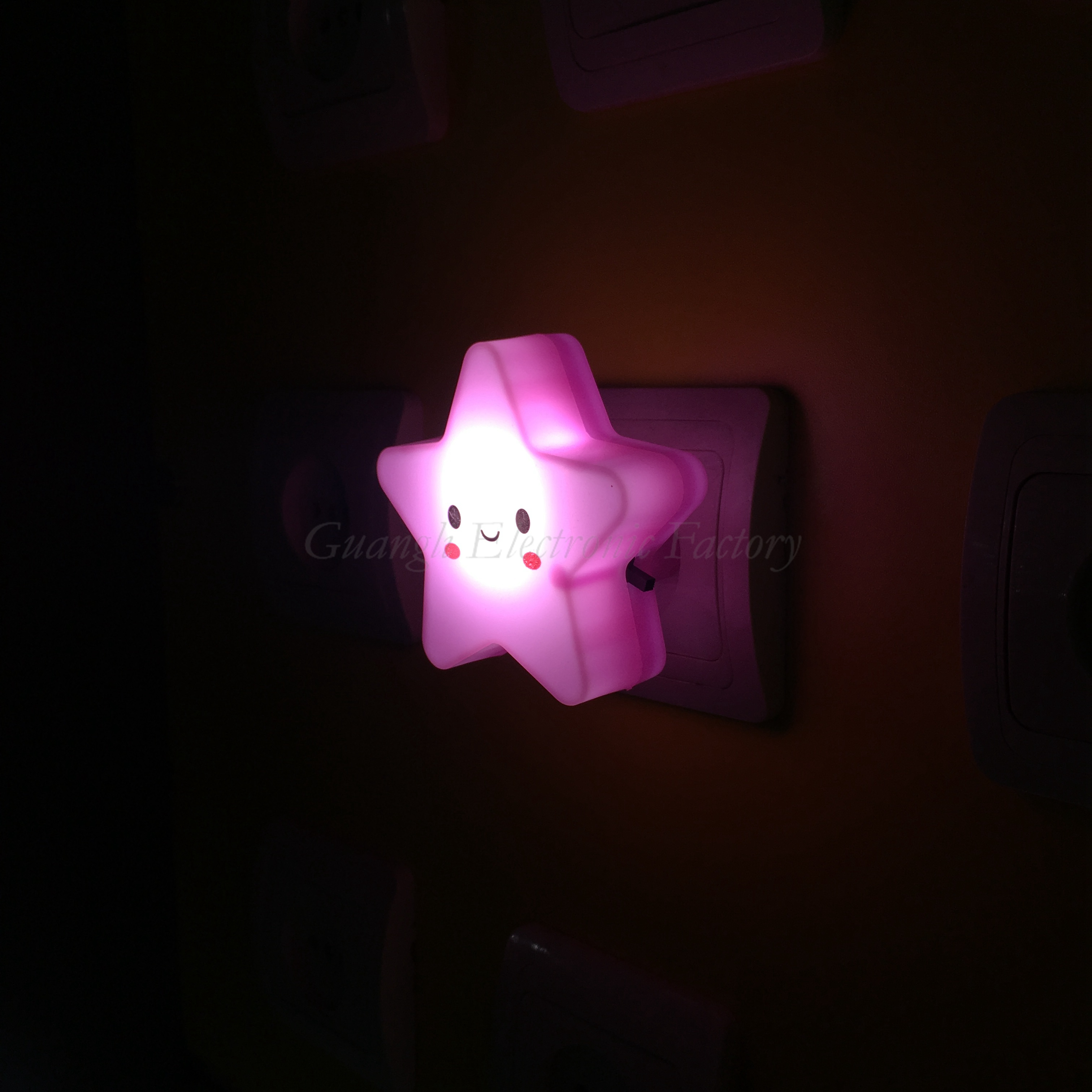 W096 4SMD mini switch plug in star with smile face room usage  For  night light  Baby Bedroom child cute gift