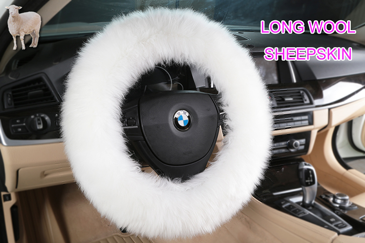 Long wool Plush Sheepskin Car Steering Wheel Cover for Car Interior Accessories