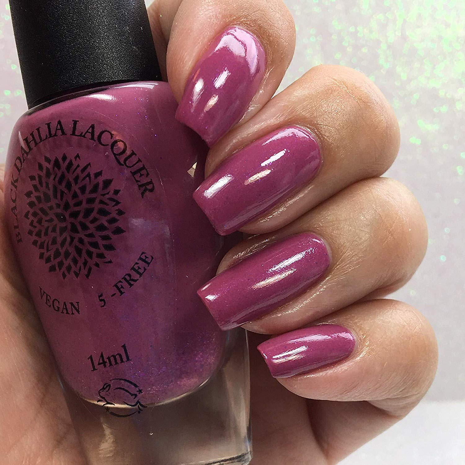 Blooming Lilac | Orchid Purple Shimmer Nail Polish with Blue, Hot Pink, Lavender & Neon Plum Flakies | by Black Dahlia Lacquer