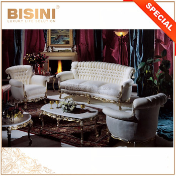 New Classical Gold And Silver Solid Wood Carved Crystal Button Tufted  Living Room Furniture Off White