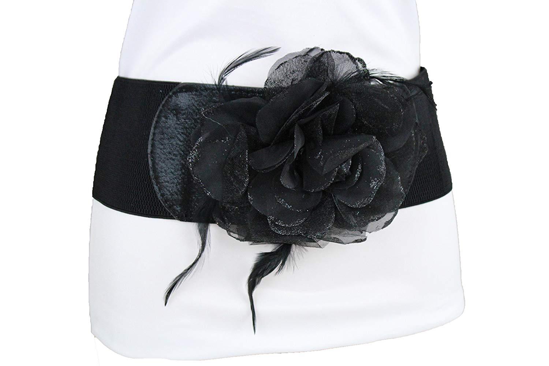 06bb8b794a0 Get Quotations · TFJ Women Wide Fashion Elastic Corset Belt Hip High Waist  Glitter Fabric Flower Feathers S M Black