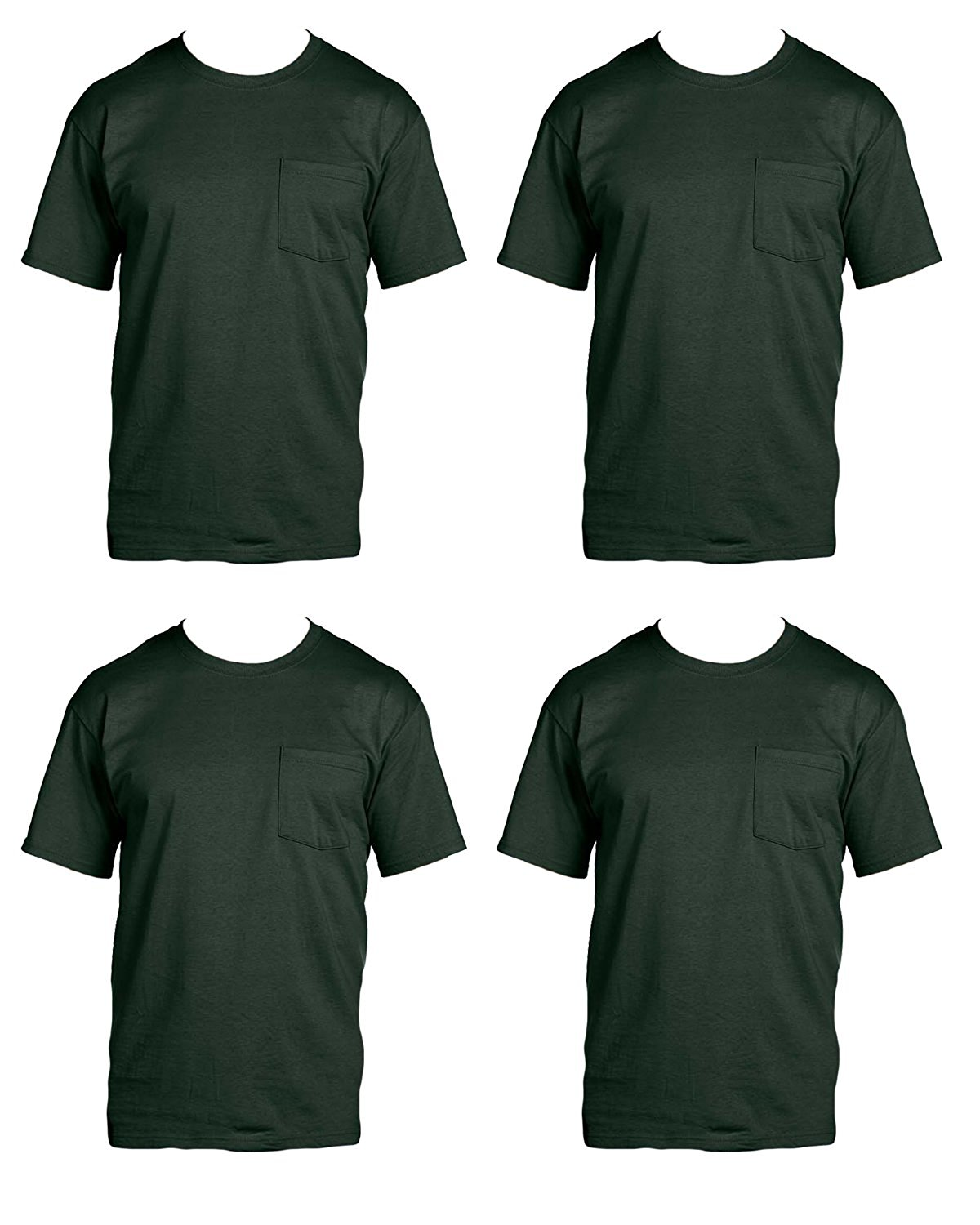 e72b10a2cc51 Get Quotations · Fruit of the Loom Men s 4-Pack Pocket Crew Neck T-Shirt  Forest Green