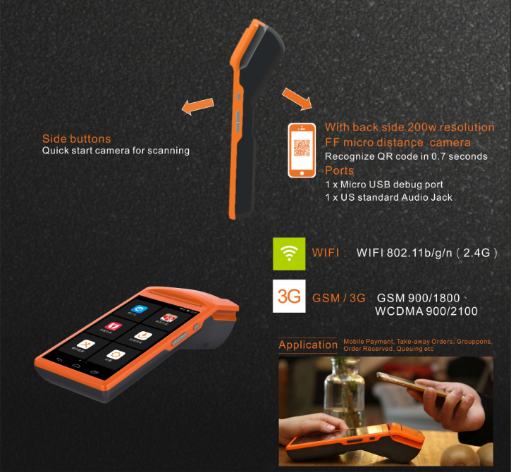 Mobile Android Pos With Qualcore Thermal Printer And 3g 5