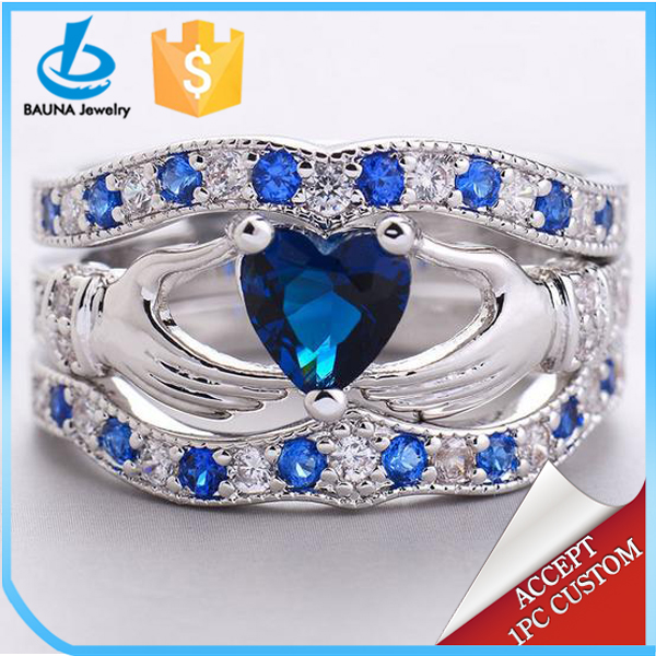 Irish Claddagh silver three pieces double hands blue crystal heart ring set for wedding