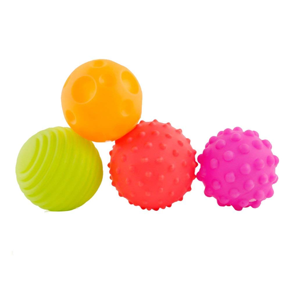 Ohomr Baby Toddler Toys Balls Baby Hand Grasping Balls Durable Sensory Balls Soft Textured Balls for Babies Toddlers Rattle Educational Toys 4Pcs