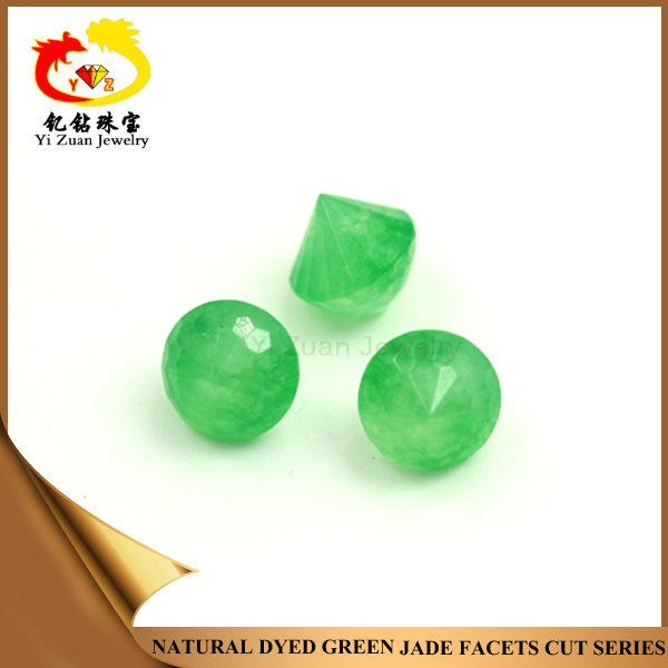 Faceted Cut Dyed Green Malay Jade Real Jade beads