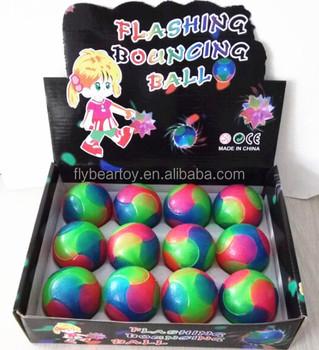 Flashing Tpr Rubber Bounce Ball Glitter Light Up Sound