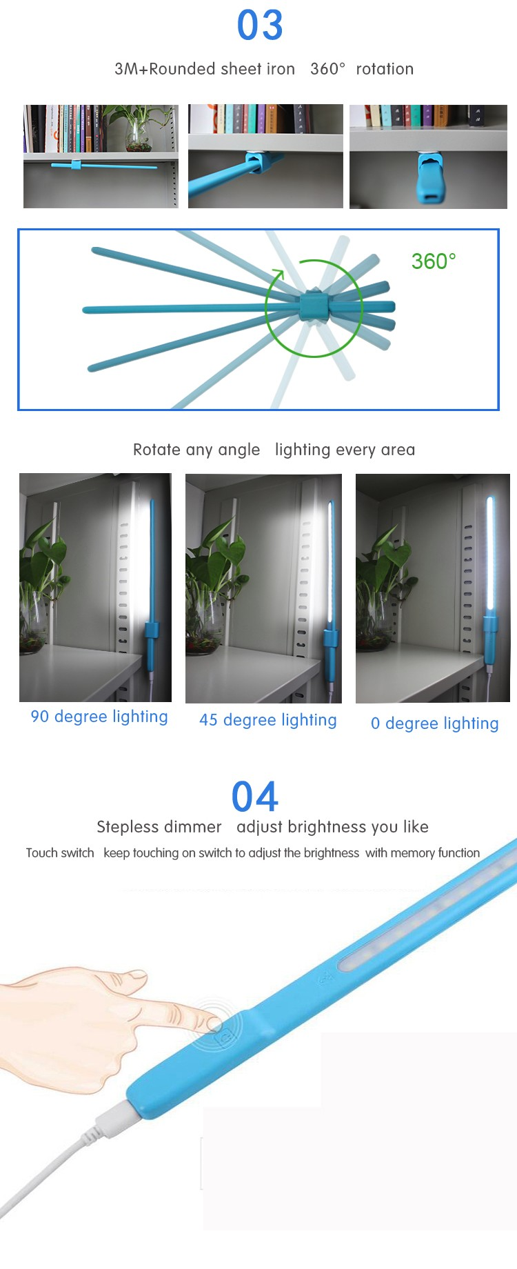 2016 NEW Electronic Gift Touch Sensitive Stepless Dimmable USB LED Light For Computer Laptop