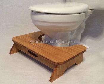 Custom Logo Wooden Toilet Stool Bamboo Potty Chair