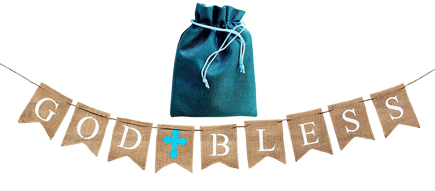 First Holy Communion Decor Christening Decor Confirmation Sign P131 God Bless Banner