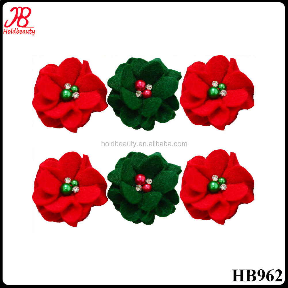 red and green felt flower with beads and rhinestone for christmas