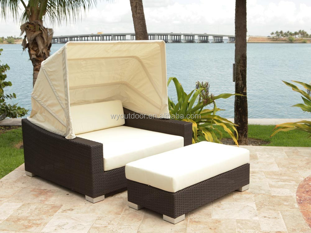 Source Outdoor King 2 Piece Wicker Daybed with canopy YDL-WDB018