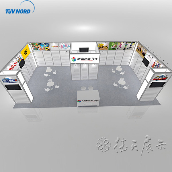 Detian offer 4x8m simple aluminium exhibition booth with tension fabrics
