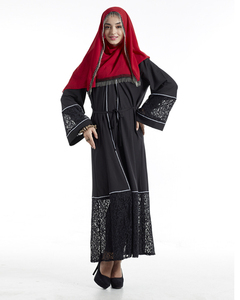 A3298 Islamic women wear new model black abaya in dubai 2018 popular in stock muslim linen lace kimono