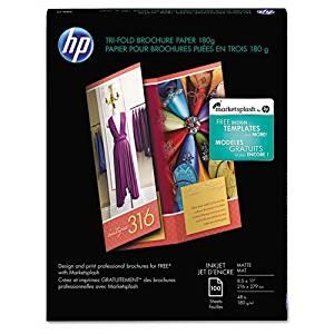 HP - Inkjet Tri-Fold Brochure Paper, 103 Brightness, 48lb, 8-1/2 x 11, White, 100/PK - Sold As 1 Pack - Ideal for impressive three-panel brochures--pre-scored for easy folding