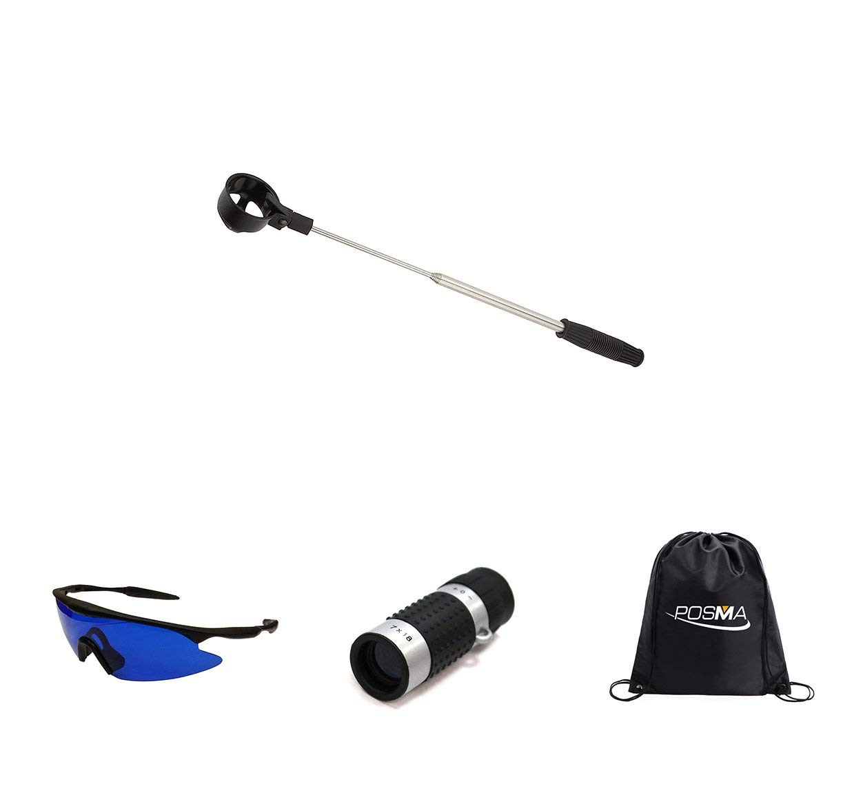 POSMA BR050L Golf 5 section Retrectable 2m Golf Ball Retriever Bundle Set with 1pc Golf Ranger Finder(GF100) + 1pc Golf Ball Finder Hunter Retriever Glasses + 1pc black cinch sack carry bag