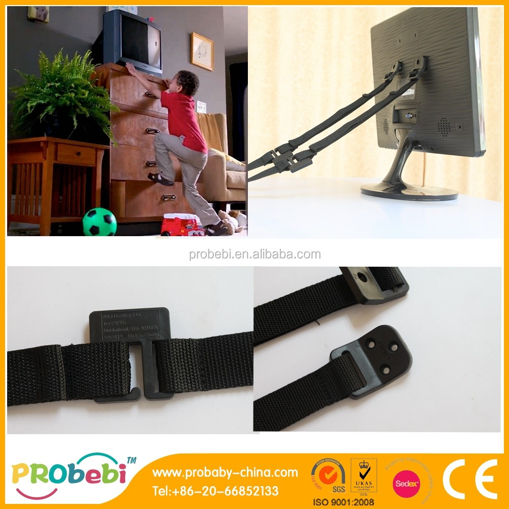 STRONG Hold, LONG Adjustable Strap & Earthquake Safety Furniture Wall Anchor