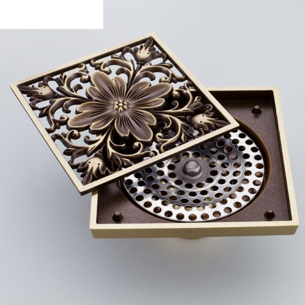 YAOHAOHAO Brass Copper floor drain/carved retro stainless steel floor drain smell - a sieve