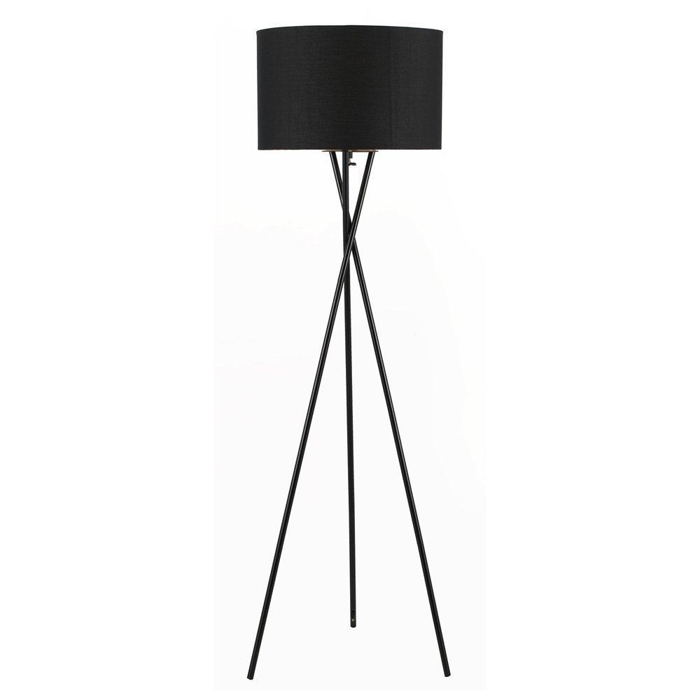 Euro Style Collection Lisboa Tripod Metal Body Floor Lamp, Black