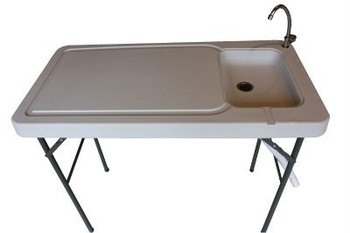 Portable fish table with sink and faucet camping table