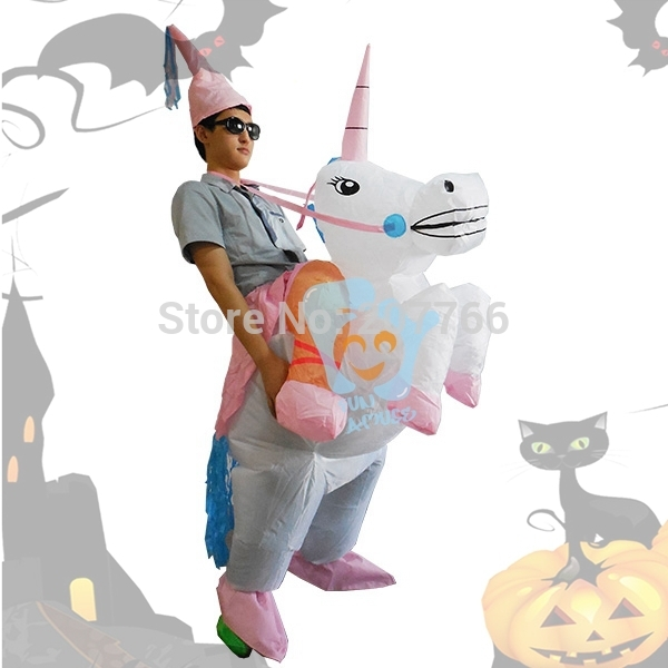 960f9aa9881a2 HOT Adult Halloween Costumes Inflatable Unicorn Costumes Ride on Sky Horse  Air Blowing Up Clothes Funny