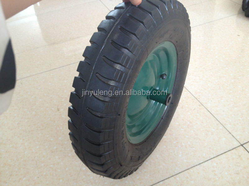 3.50/4.00-8 lug pattern rubber wheel for trolley,wheel barrow / Pneumatic wheels for wheelbarrow