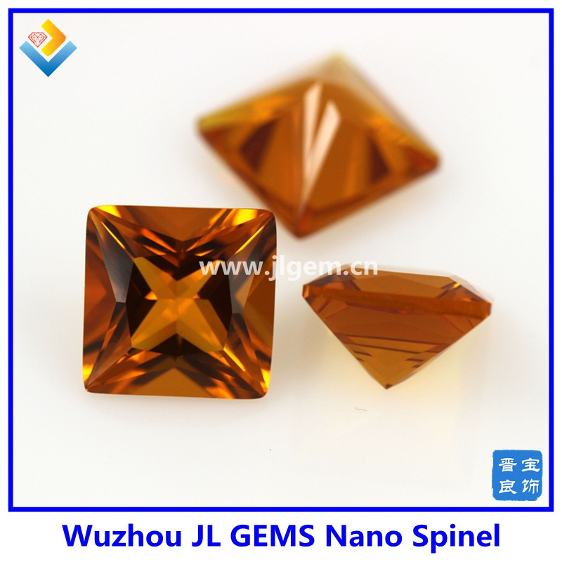 synthetic square Yellow Citrine Nano Spinel stone for luxury jewelry wax Setting