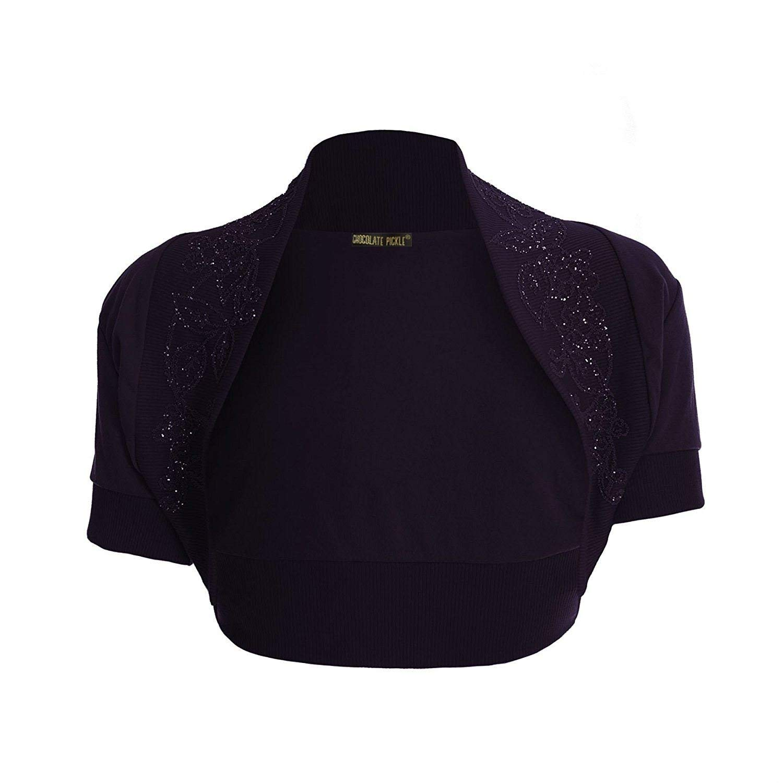 b3a1a20ff90e7 Chocolate Pickle New ladies Short Sleeve Cropped Purple Sequin Bolero Shrug  Cardigan Top S-2XL