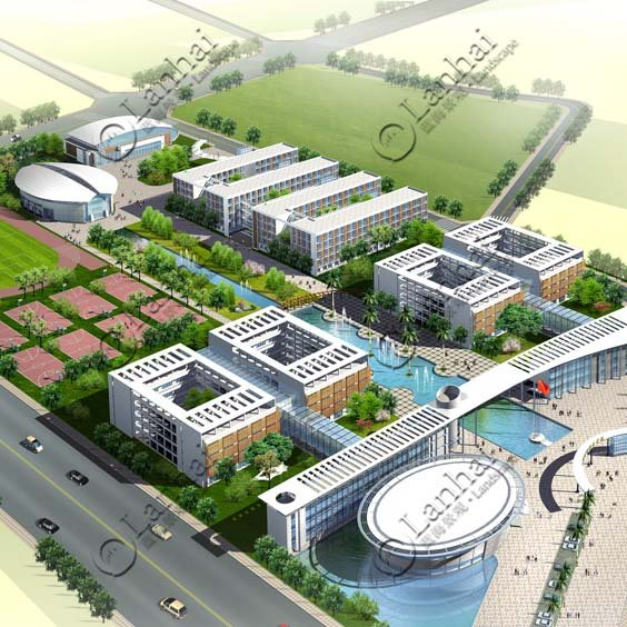 Aerial View Landscape Architecture Rendering